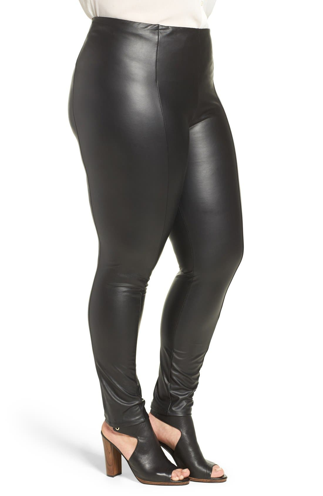 High Waist Faux Leather Leggings,                             Alternate thumbnail 3, color,                             Black