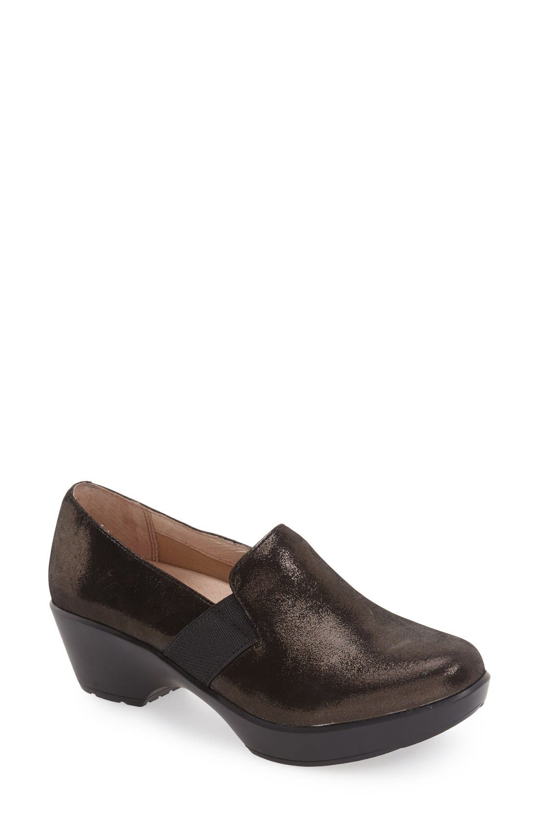 'Jessica' Platform Loafer,                             Main thumbnail 1, color,                             Black Metallic Suede