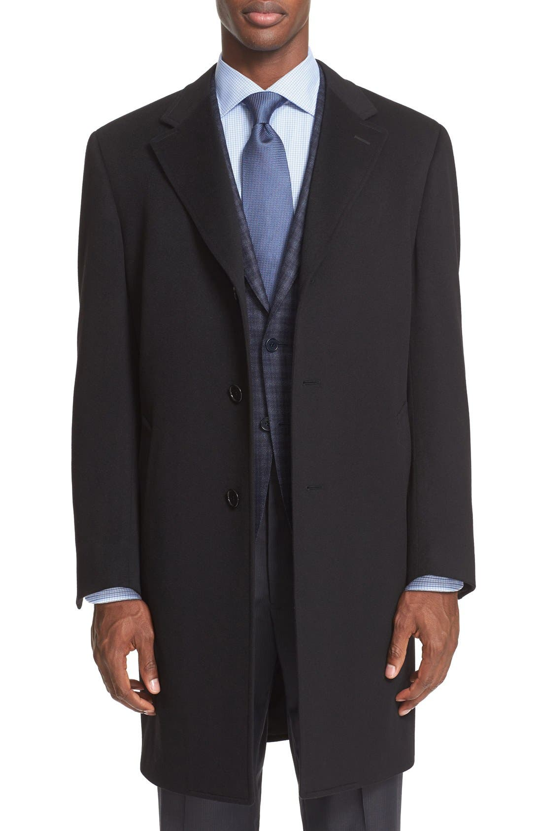Classic Fit Wool & Cashmere Topcoat,                         Main,                         color, Black