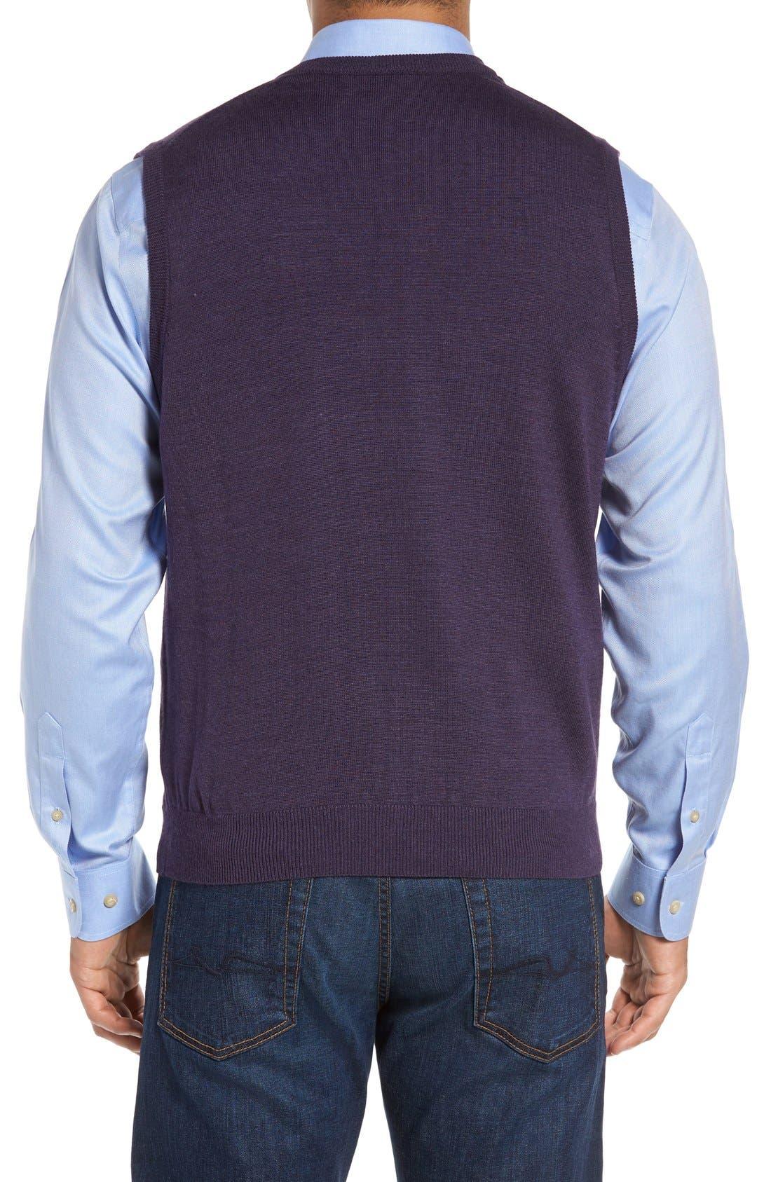 Alternate Image 2  - Cutter & Buck 'Douglas' Merino Wool Blend V-Neck Sweater Vest (Online Only)