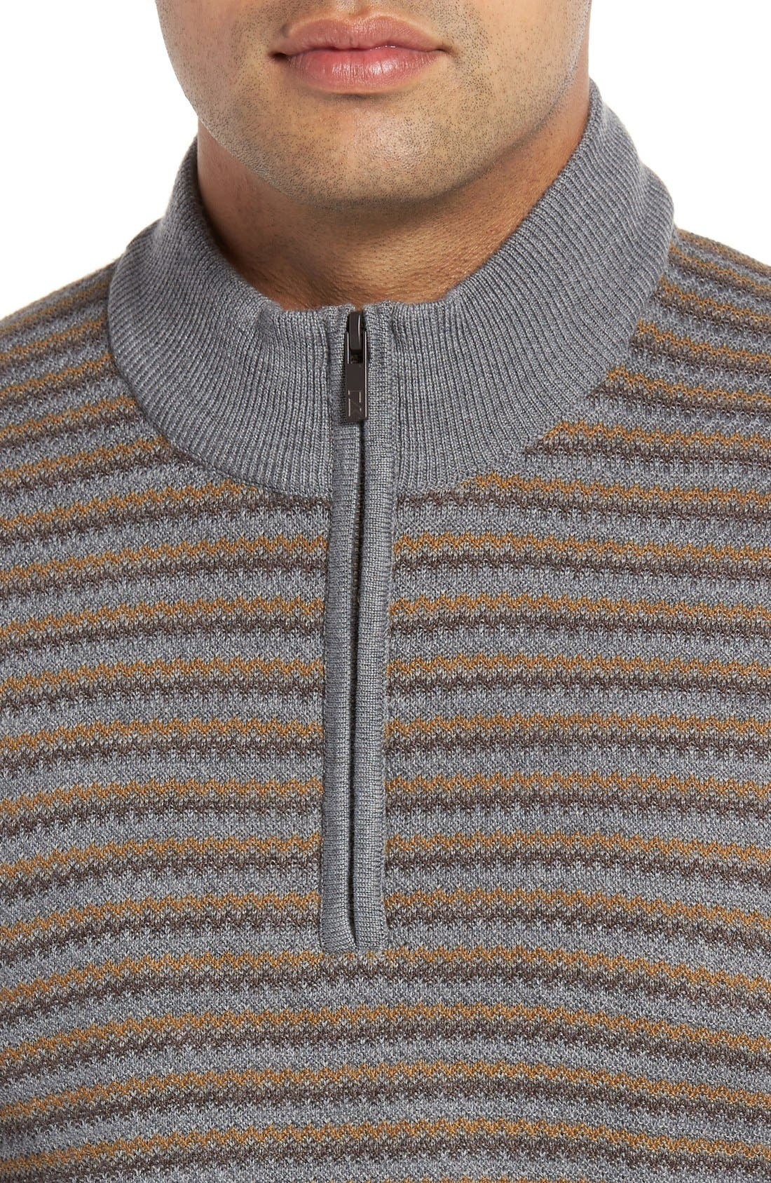'Douglas Range' Quarter Zip Stripe Wool Blend Sweater,                             Alternate thumbnail 4, color,                             Brown/ Multi