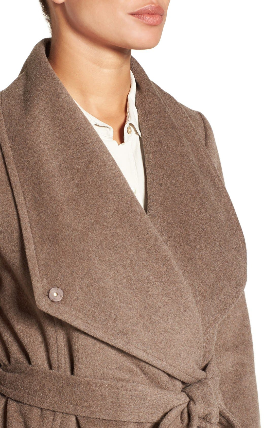 Drape Front Wrap Coat,                             Alternate thumbnail 4, color,                             Portobello