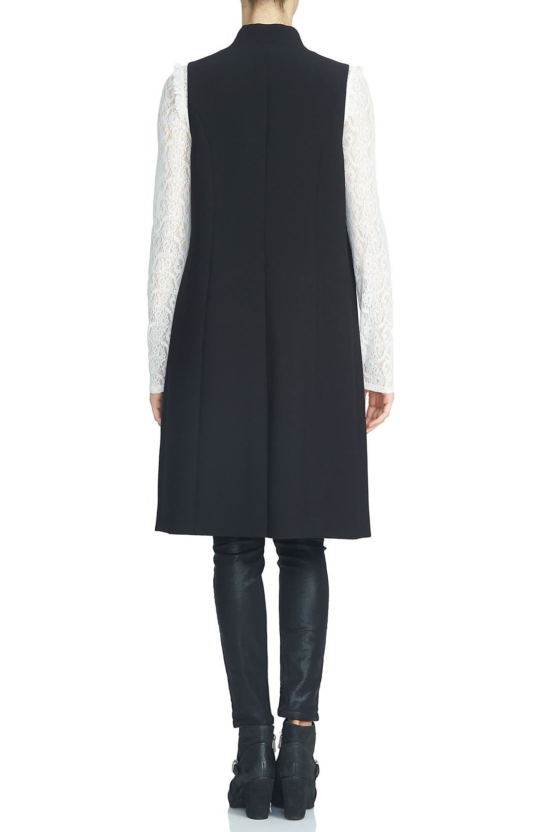 Button Lapel Longline Vest,                             Alternate thumbnail 2, color,                             Rich Black