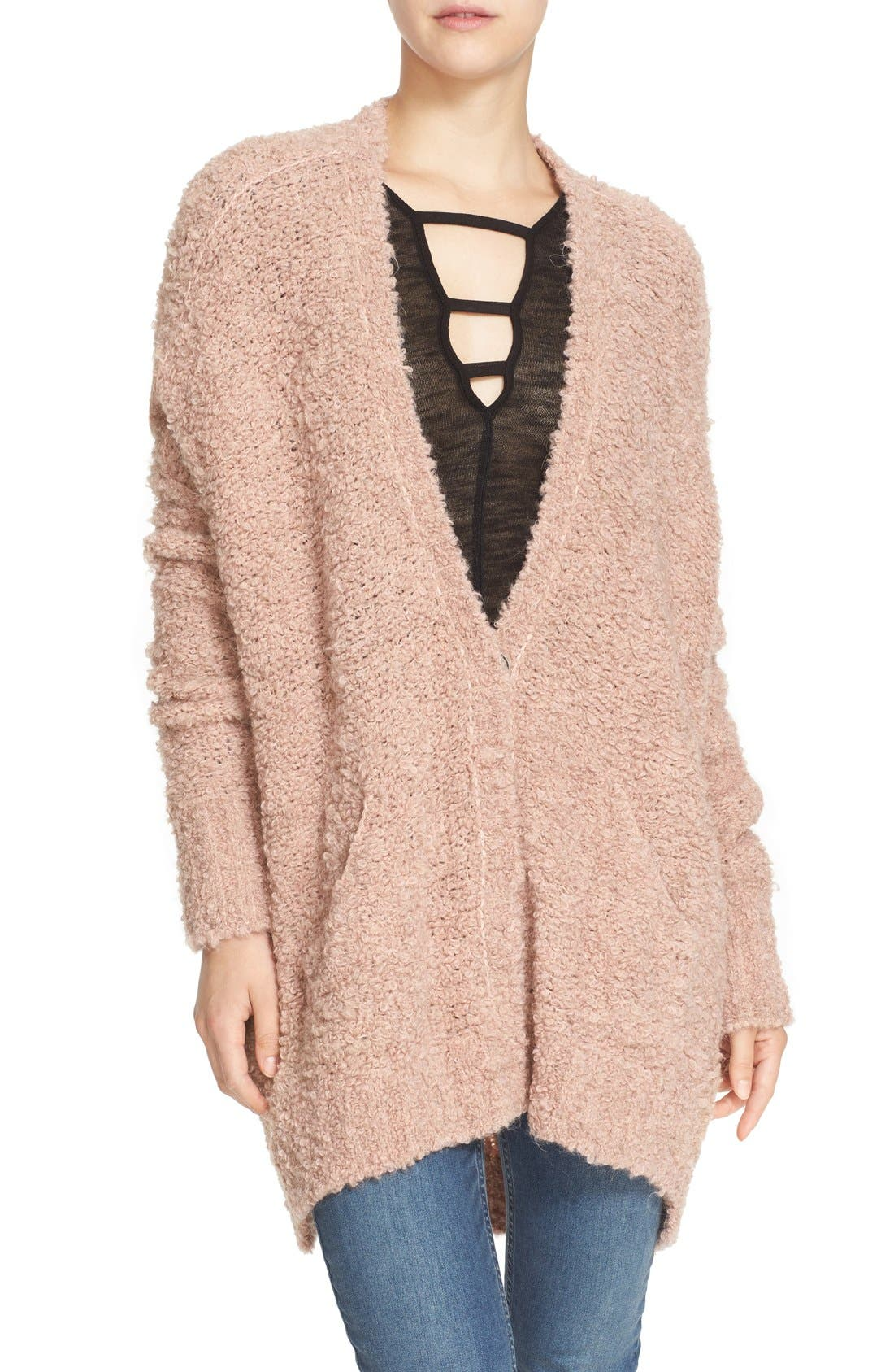 Alternate Image 1 Selected - Free People Bouclé V-Neck Cardigan