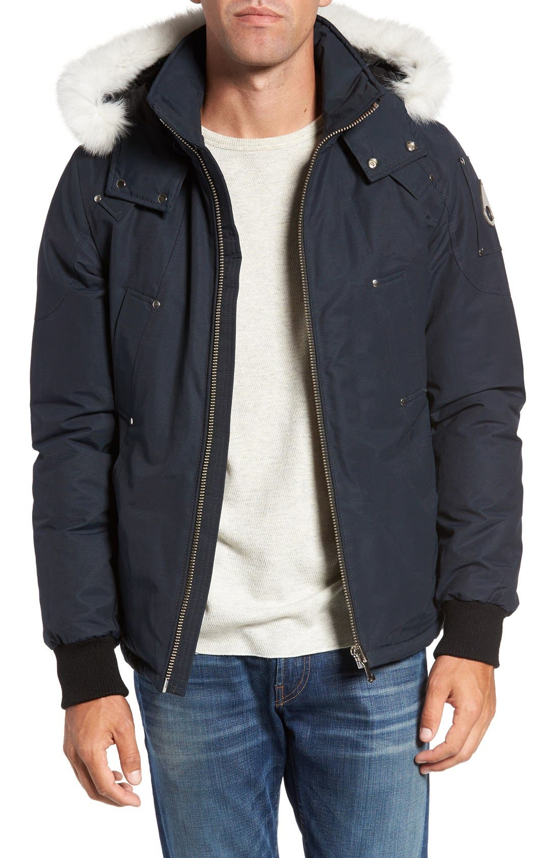 Down Coat with Genuine Fox Fur Trim,                         Main,                         color, Dark Navy