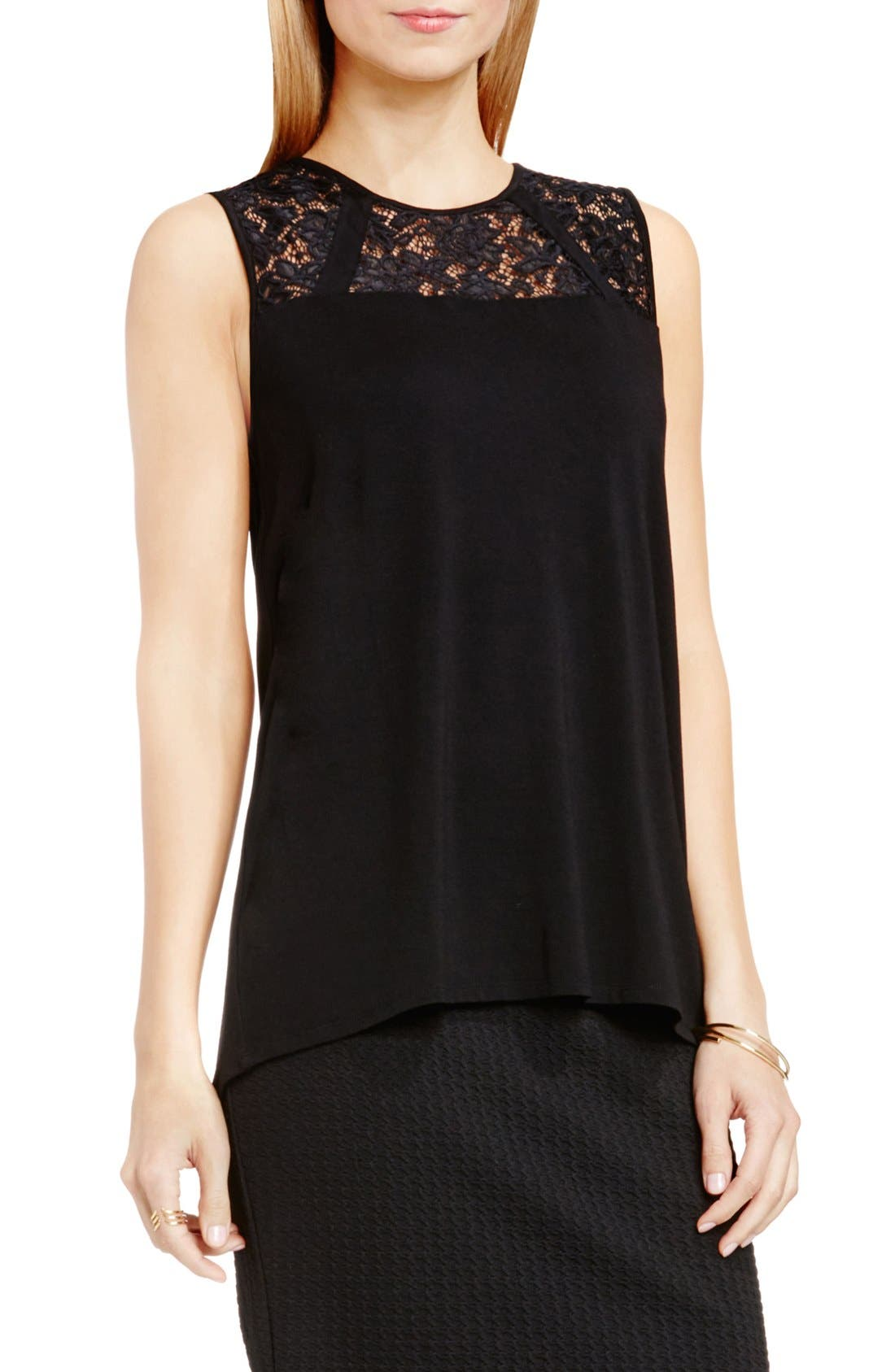 Alternate Image 1 Selected - Vince Camuto Lace Yoke Sleeveless Jersey Top