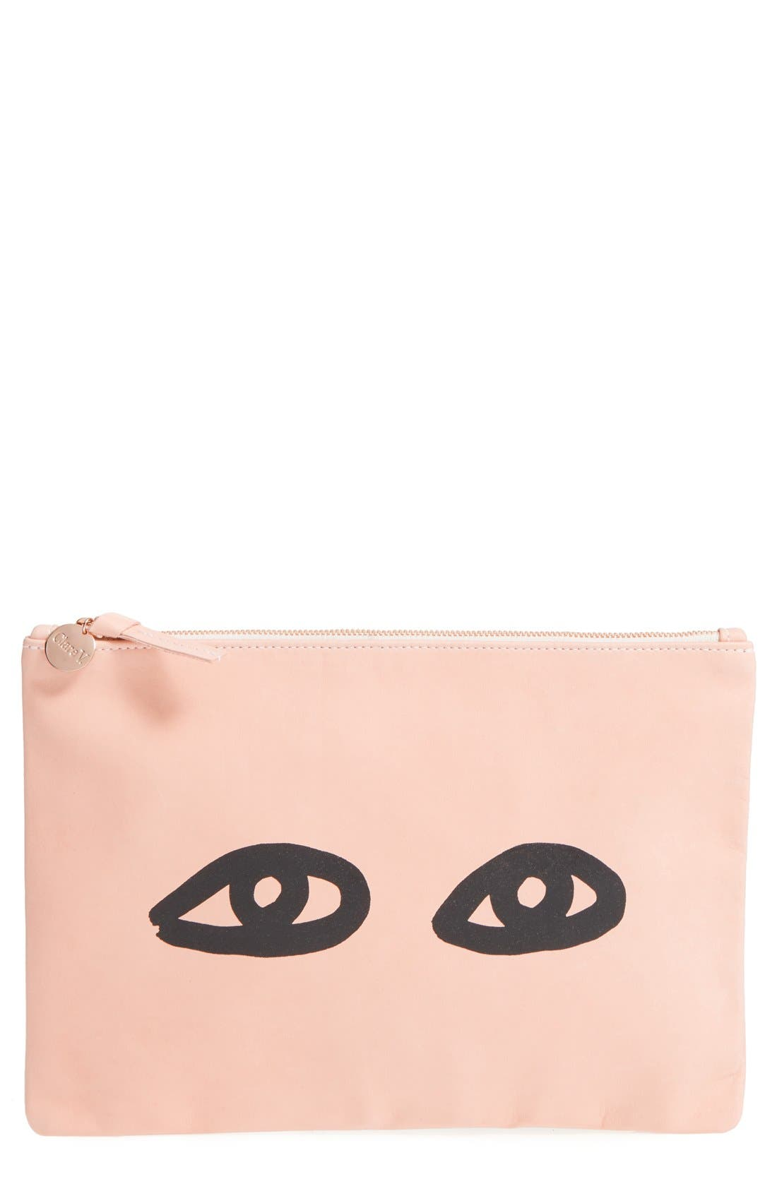 Alternate Image 1 Selected - Clare V. 'Eyes' Printed Nappa Leather Clutch