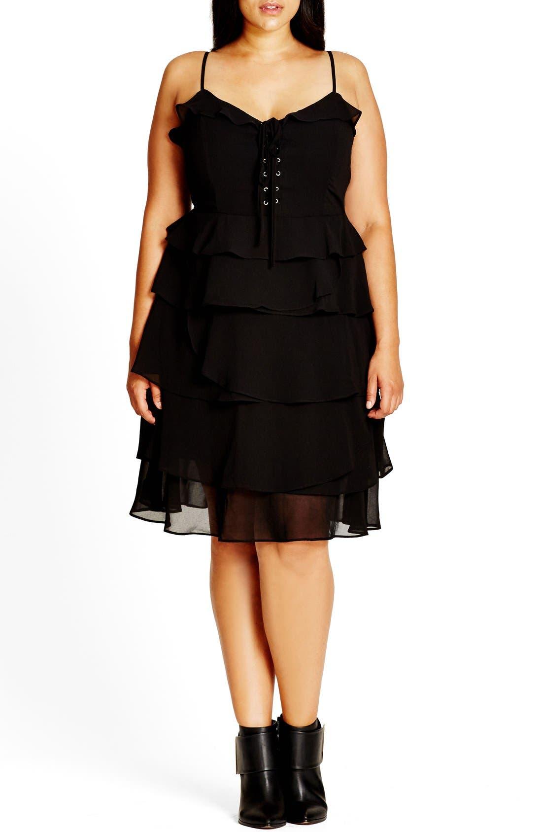 Lace-Up Ruffle Fit & Flare Dress,                             Main thumbnail 1, color,                             Black