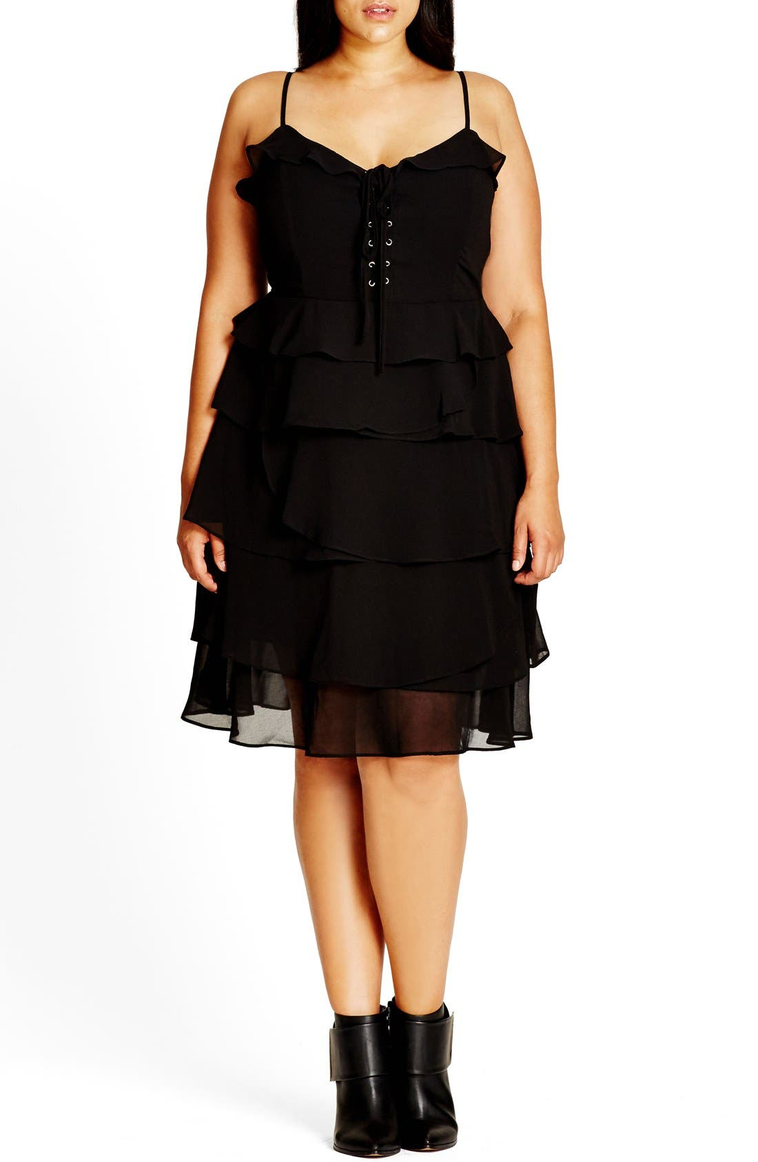 Lace-Up Ruffle Fit & Flare Dress,                         Main,                         color, Black