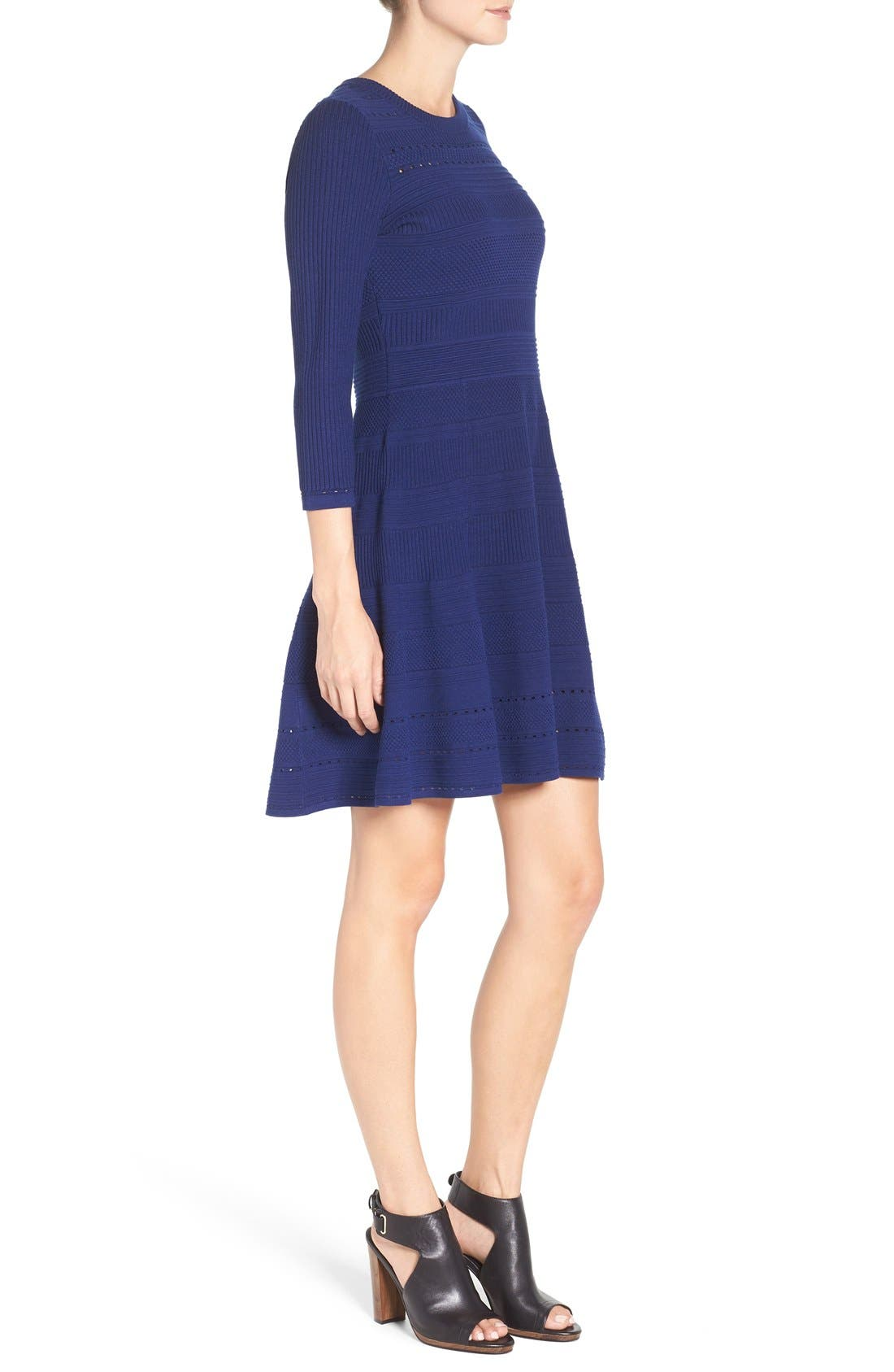 Knit Fit & Flare Dress,                             Alternate thumbnail 4, color,                             Navy