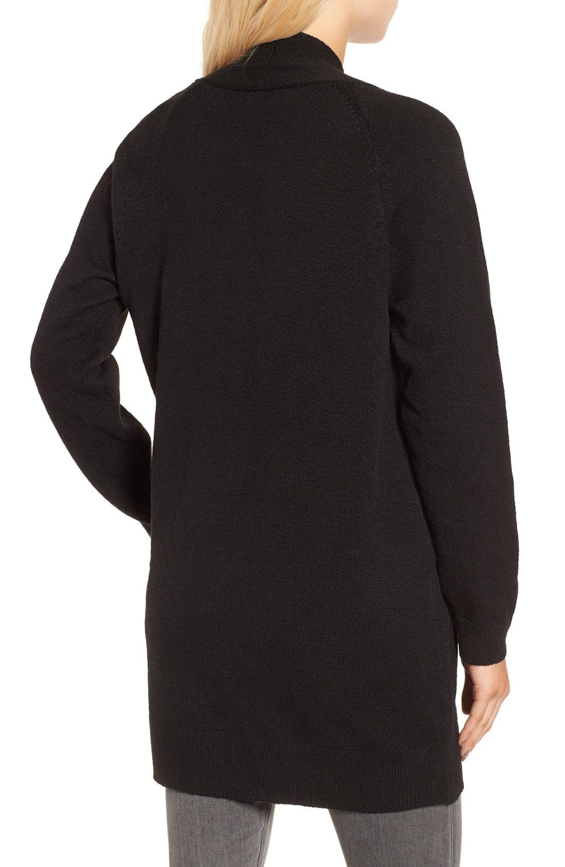 Open Front Cardigan,                             Alternate thumbnail 2, color,                             Black
