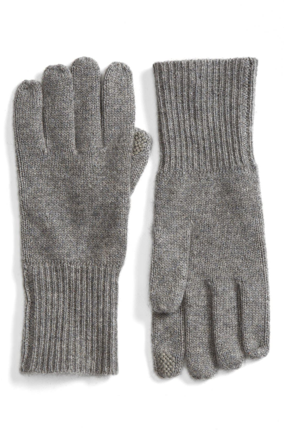 Rib Knit Cashmere Gloves,                             Main thumbnail 1, color,                             Grey Medium Heather