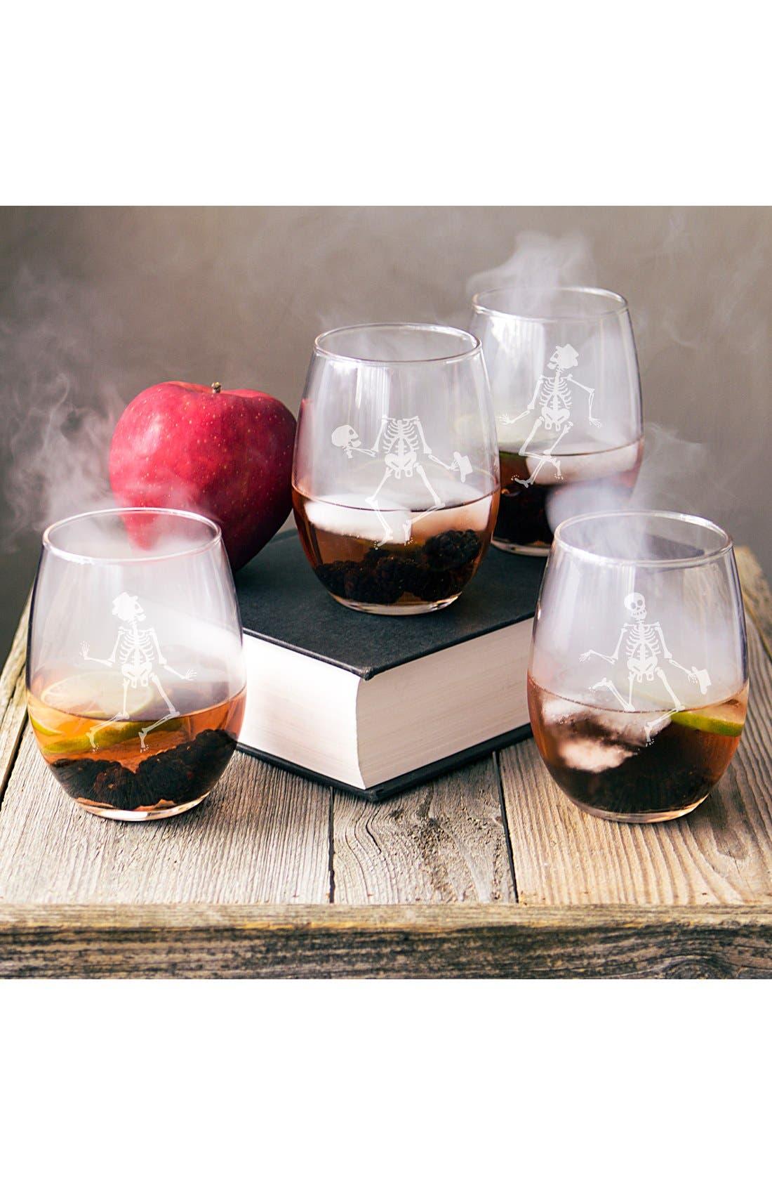 Skeletons Set of 4 Stemless Wine Glasses,                         Main,                         color, Clear