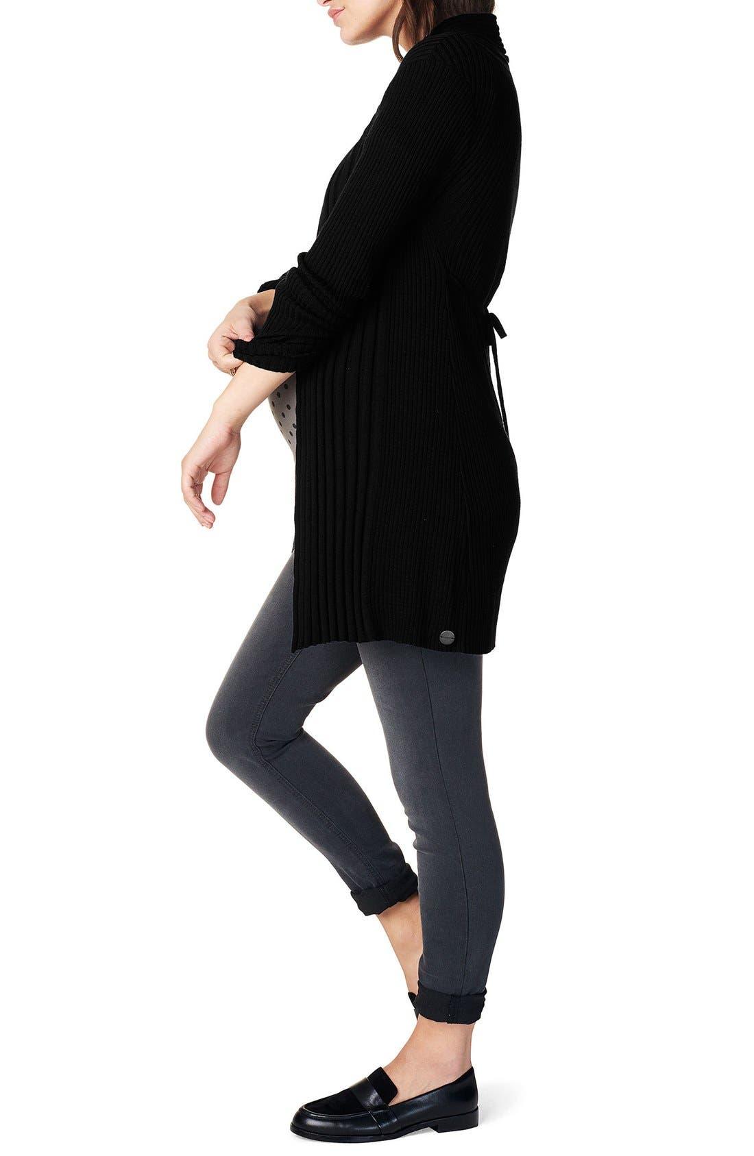 'Anne' Rib Knit Maternity Cardigan,                             Alternate thumbnail 3, color,                             Black
