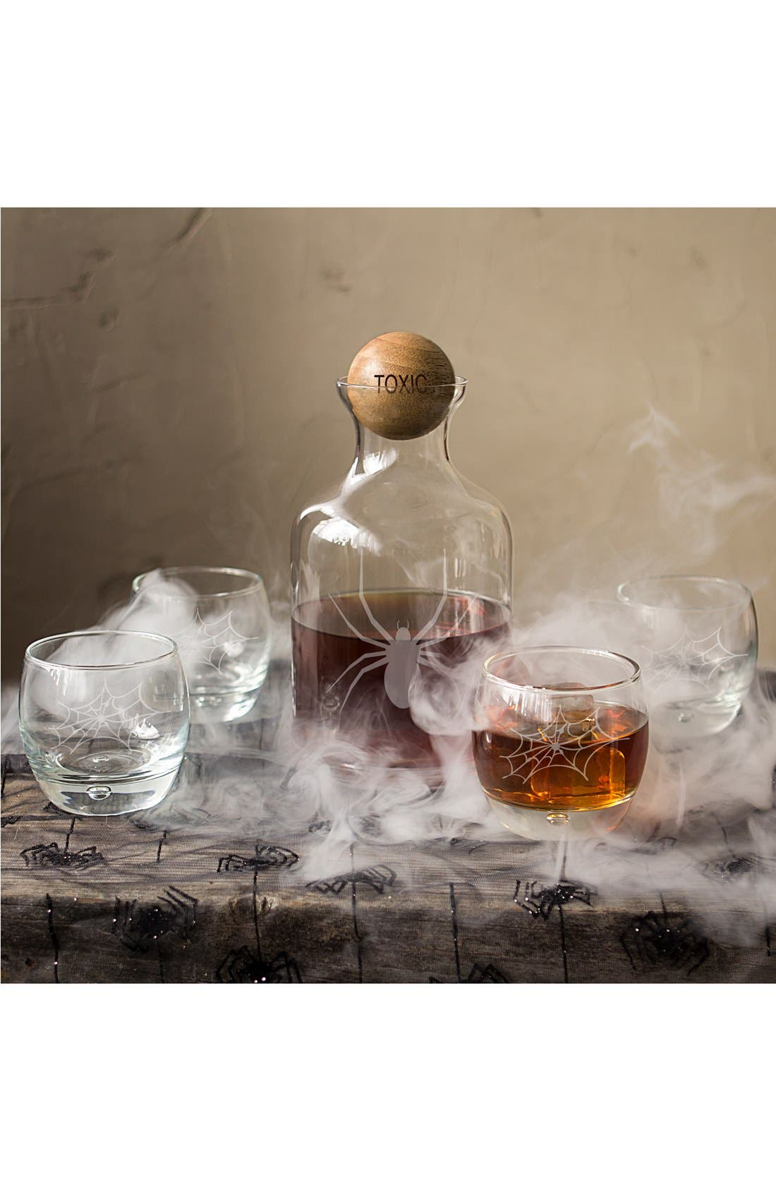 'Toxic Spider' 6-Piece Glass Decanter Set,                         Main,                         color, Clear