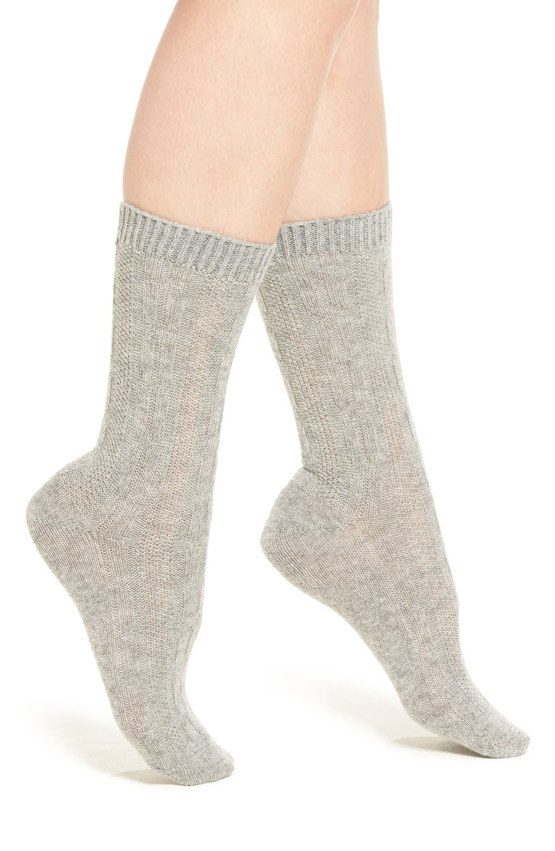 Alternate Image 1 Selected - Nordstrom 'Luxury' Cable Knit Crew Socks