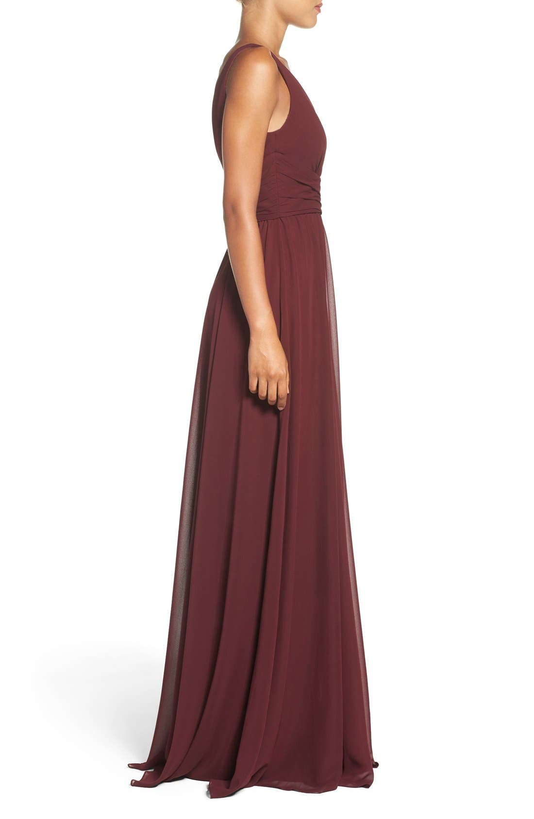 'Justine' Double V-Neck Chiffon Gown,                             Alternate thumbnail 3, color,                             Ruby