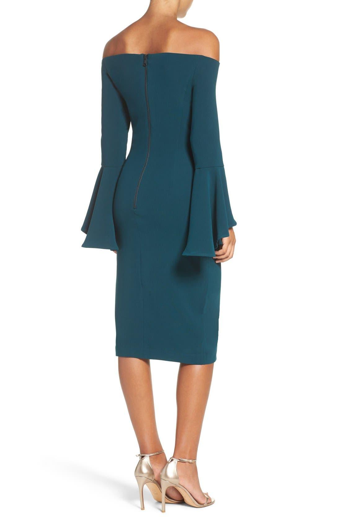 'Solange' Off the Shoulder Midi Dress,                             Alternate thumbnail 2, color,                             Teal