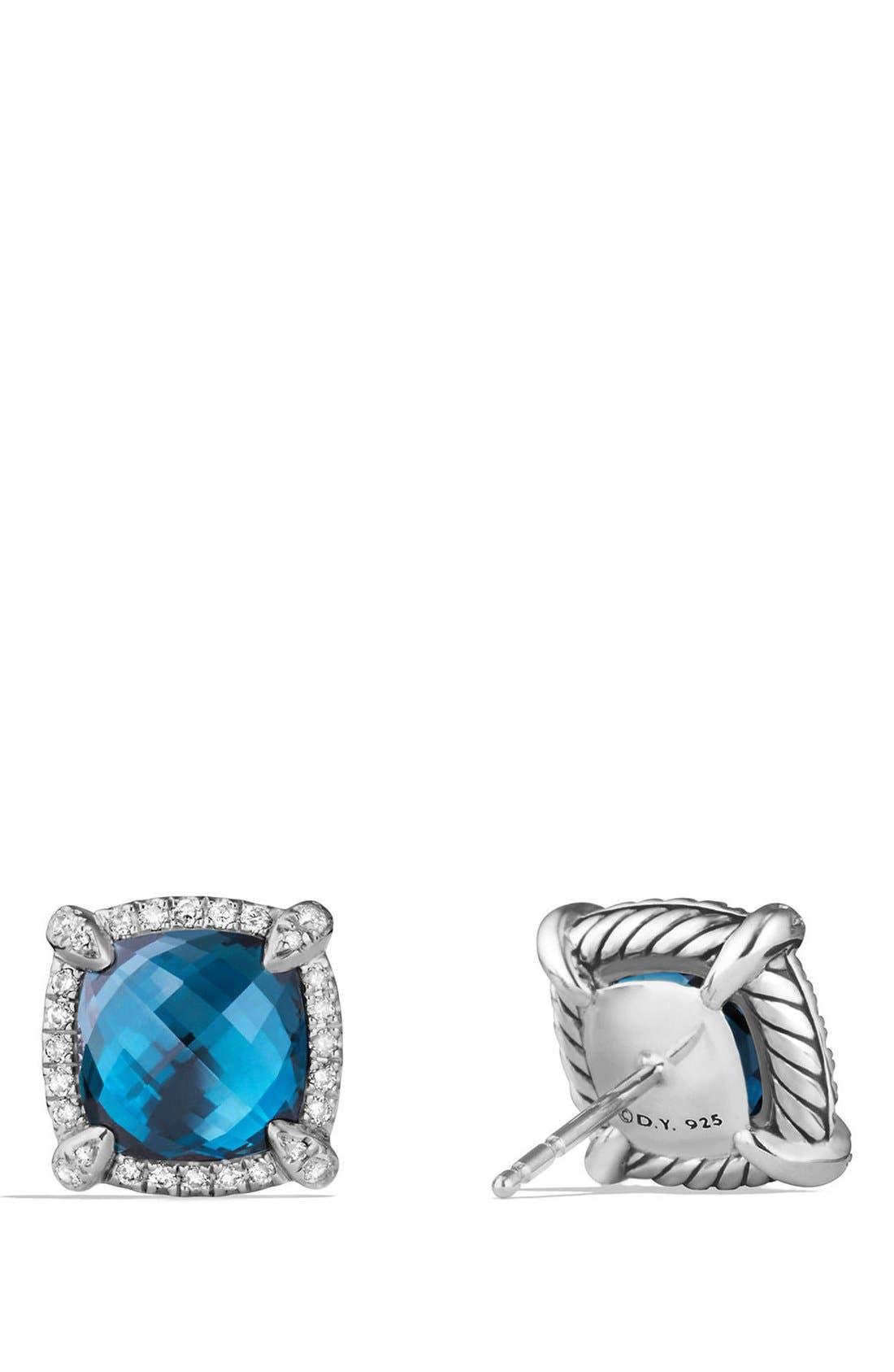 'Châtelaine' Pavé Bezel Stud Earrings with Diamonds,                             Alternate thumbnail 2, color,                             Blue Topaz