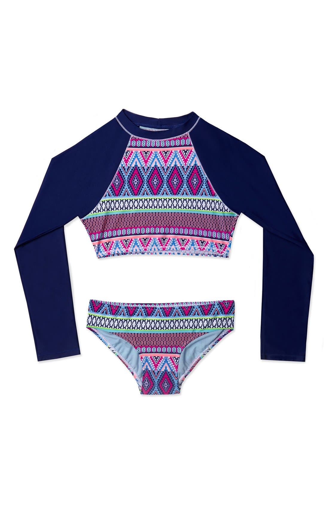 'Stripe Fusion' Two-Piece Rashguard Swimsuit,                             Main thumbnail 1, color,                             Navy Pink