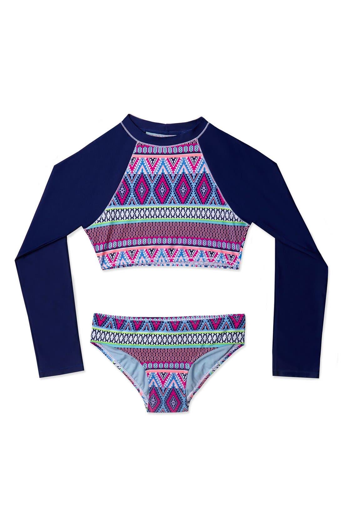 Main Image - Gossip Girl 'Stripe Fusion' Two-Piece Rashguard Swimsuit (Big Girls)