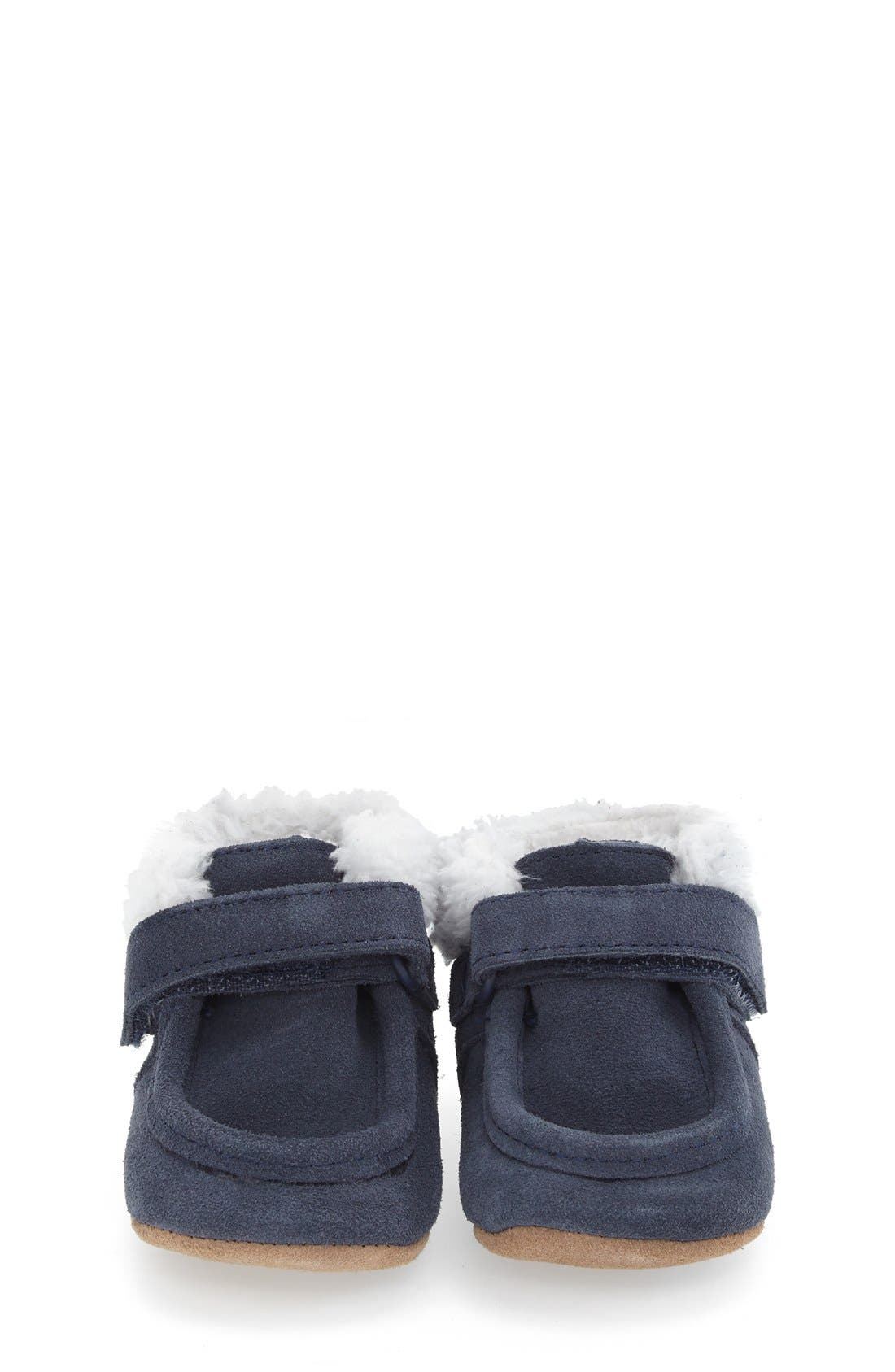 'Sawyer Snuggle' Crib Shoe,                             Alternate thumbnail 3, color,                             Navy Leather