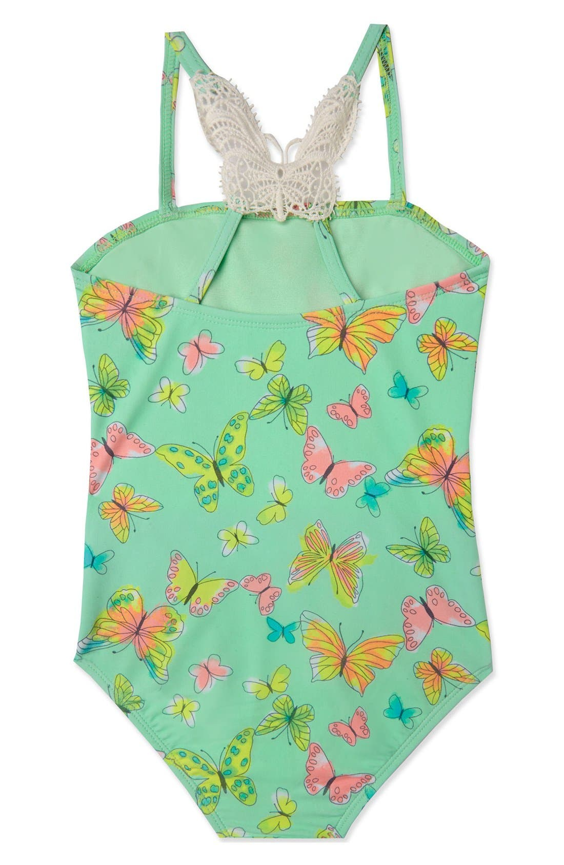 'Dreamy Butterfly' One-Piece Swimsuit,                             Alternate thumbnail 2, color,                             Mint