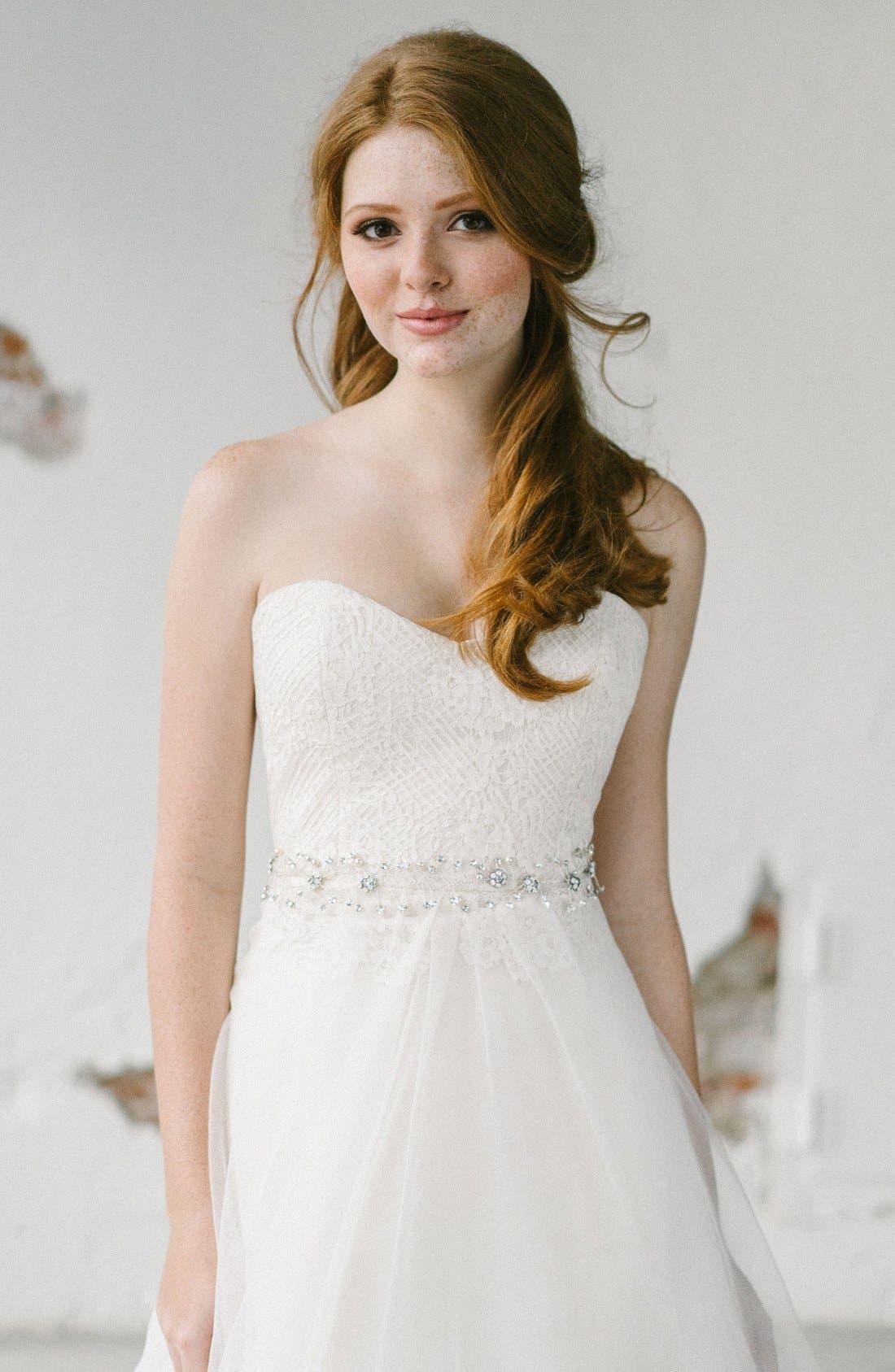 'Olivia' Embellished Ribbon,                         Main,                         color, Pale Ivory/ Opal