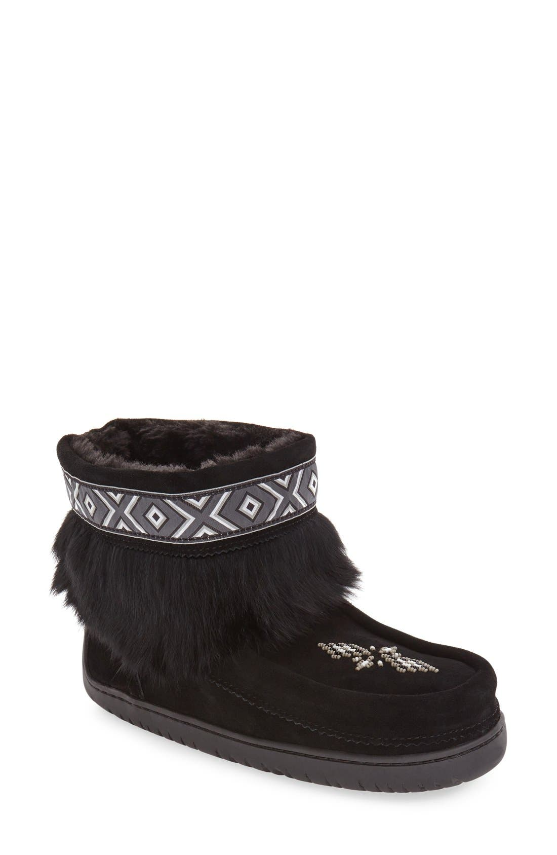 'Keewatin' Genuine Shearling and Rabbit Fur Boot,                             Main thumbnail 1, color,                             Black Rabbit Fur Suede