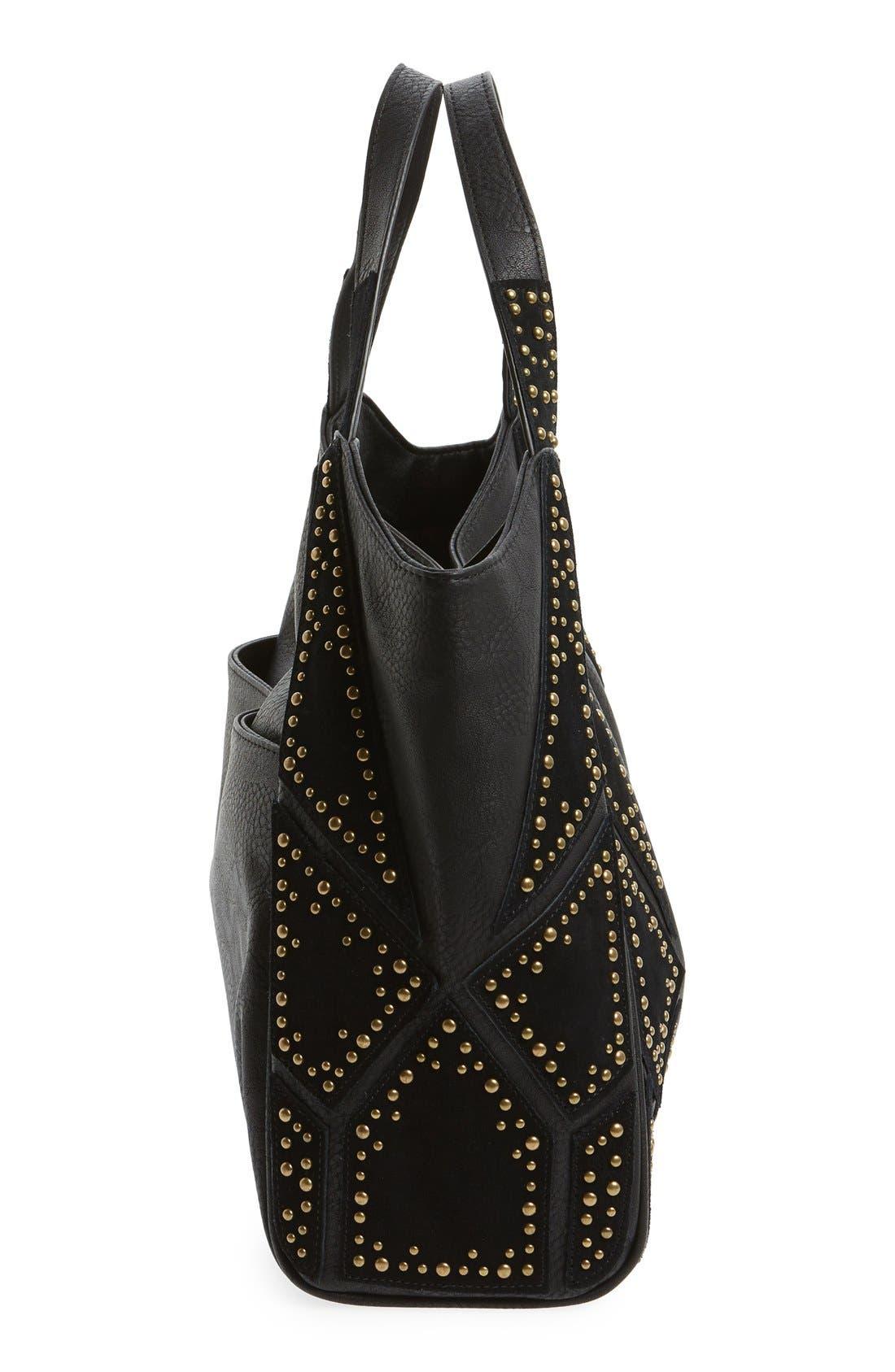 'Jlora' Studded Hobo Bag,                             Alternate thumbnail 4, color,                             Black