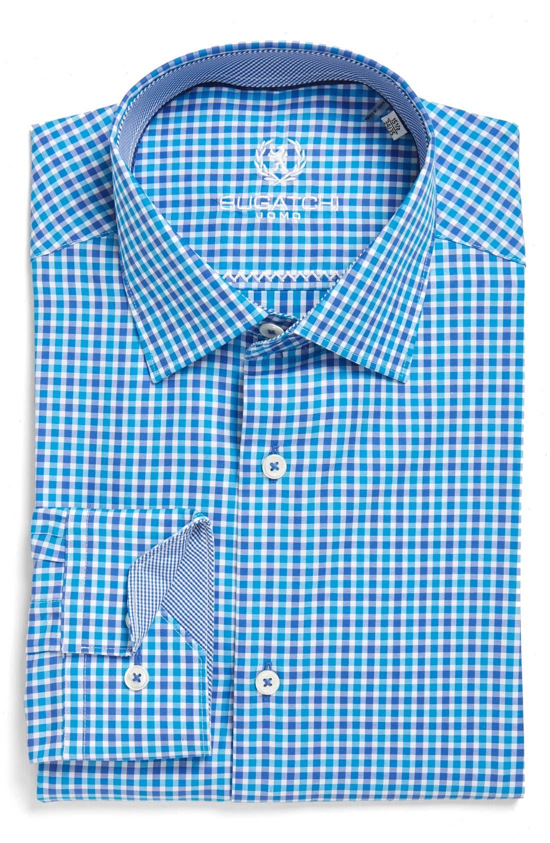 Trim Fit Check Dress Shirt,                         Main,                         color, Turquoise
