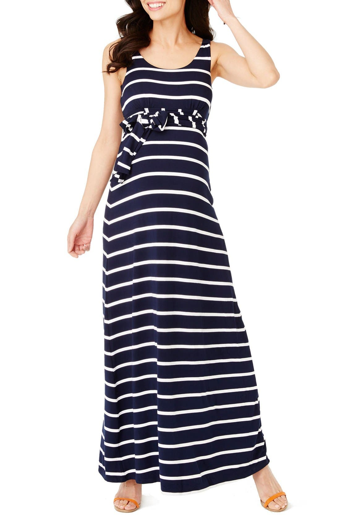'Kendal' Stripe Maternity Maxi Dress,                         Main,                         color, Navy White Stripe
