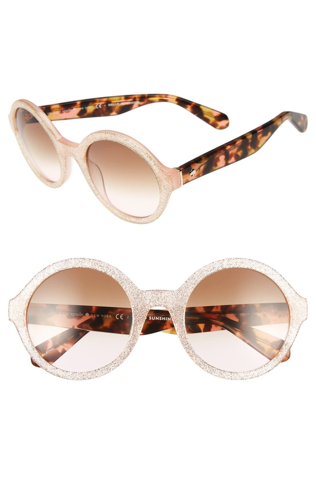 'khriss' 52mm round sunglasses,                         Main,                         color, Pink/ Gold Glitter
