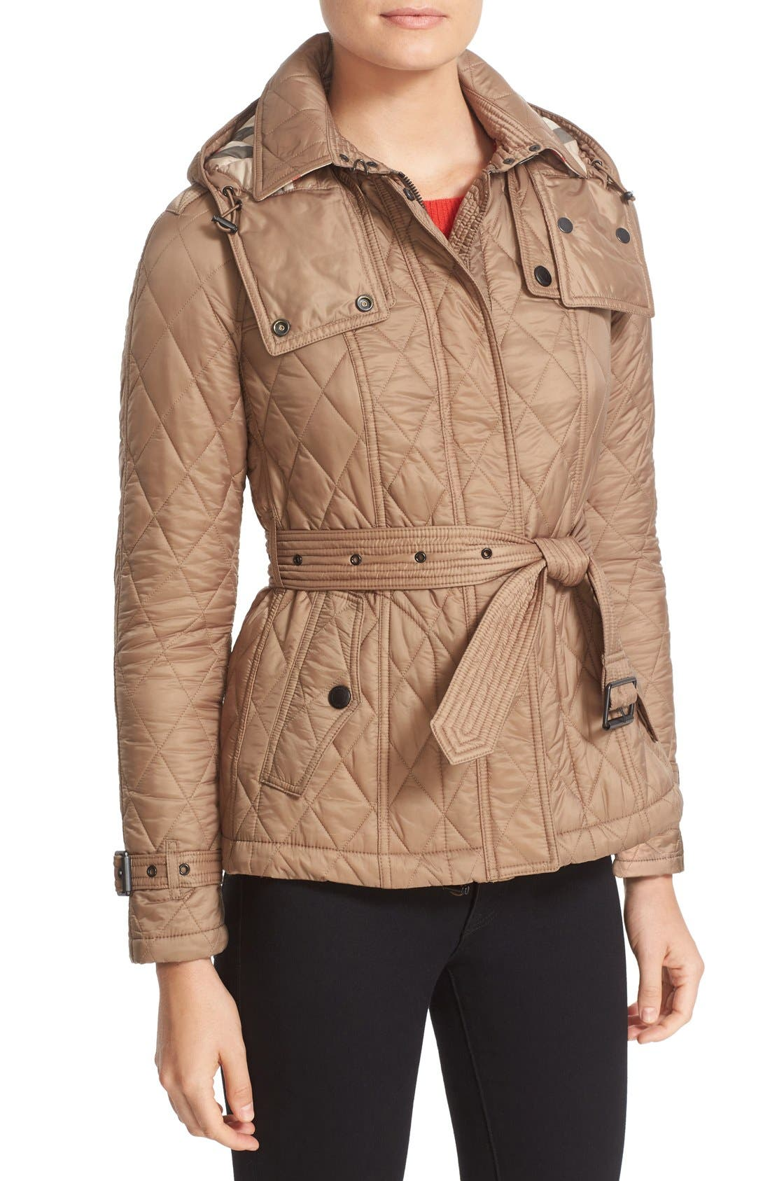 Finsbridge Short Quilted Jacket,                             Alternate thumbnail 7, color,                             Pale Fawn
