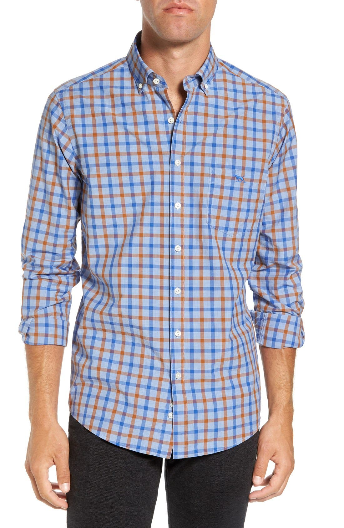 'Codfish Island' Sports Fit Check Sport Shirt,                         Main,                         color, Ochre