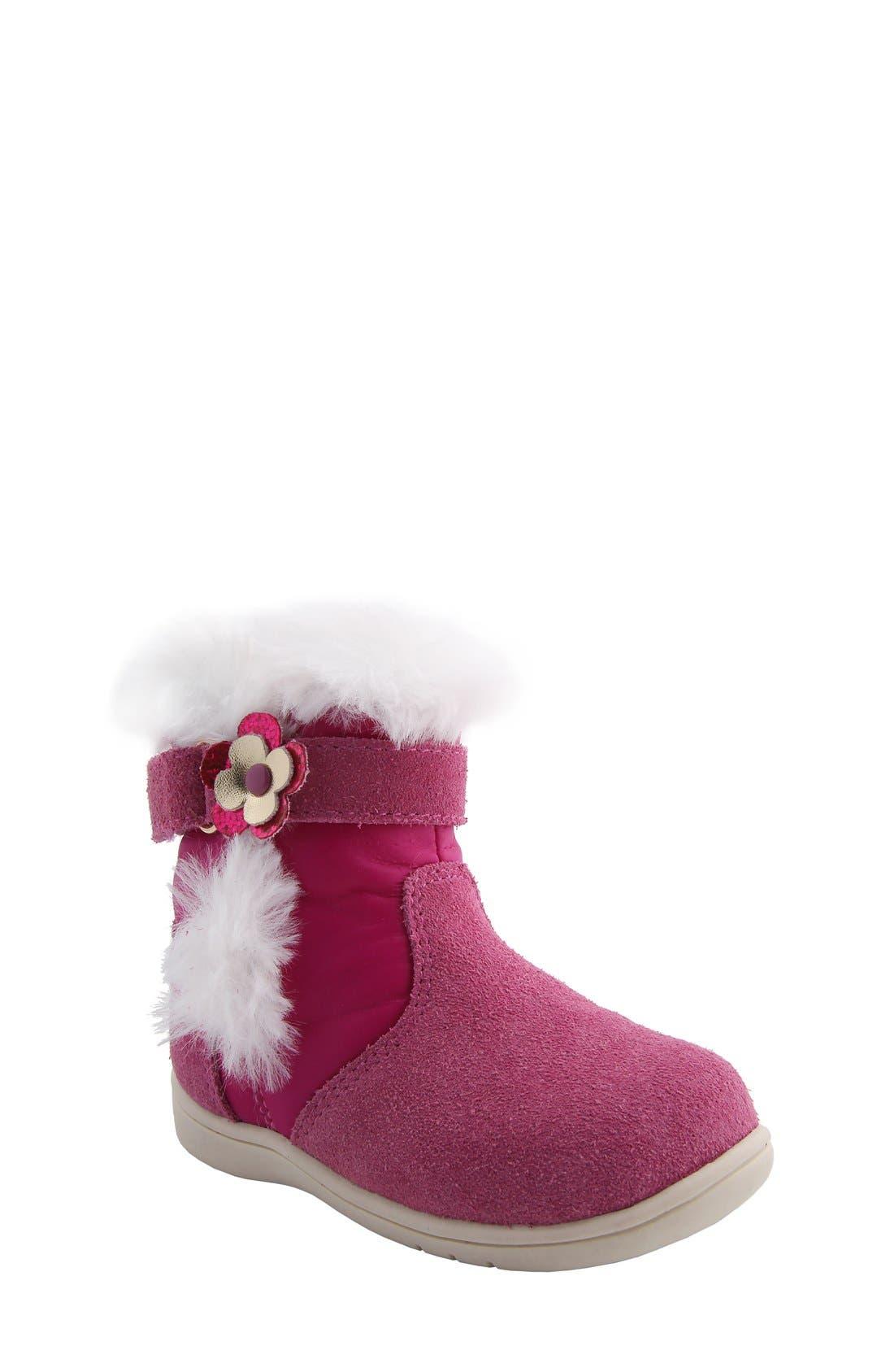 Nina 'Anya' Faux Fur Bootie,                             Main thumbnail 1, color,                             Pink Suede