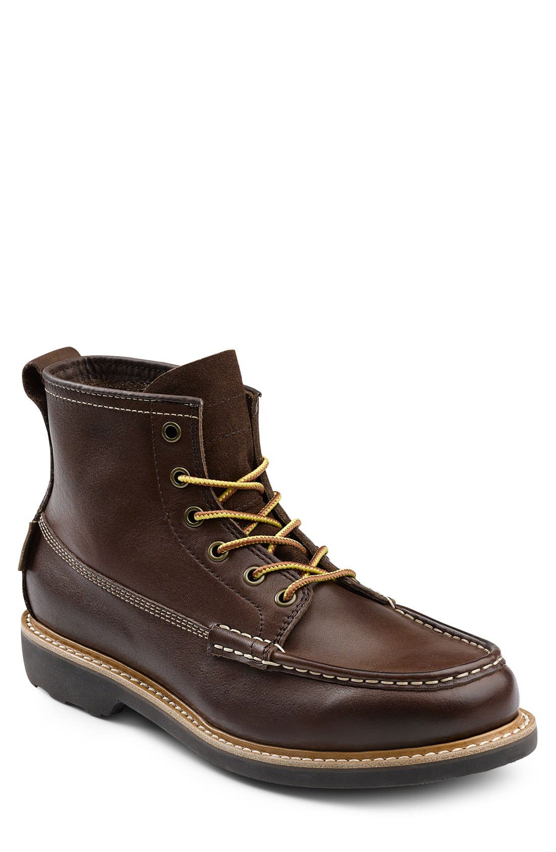 'Ashby' Moc Toe Boot,                             Main thumbnail 1, color,                             Mahogany