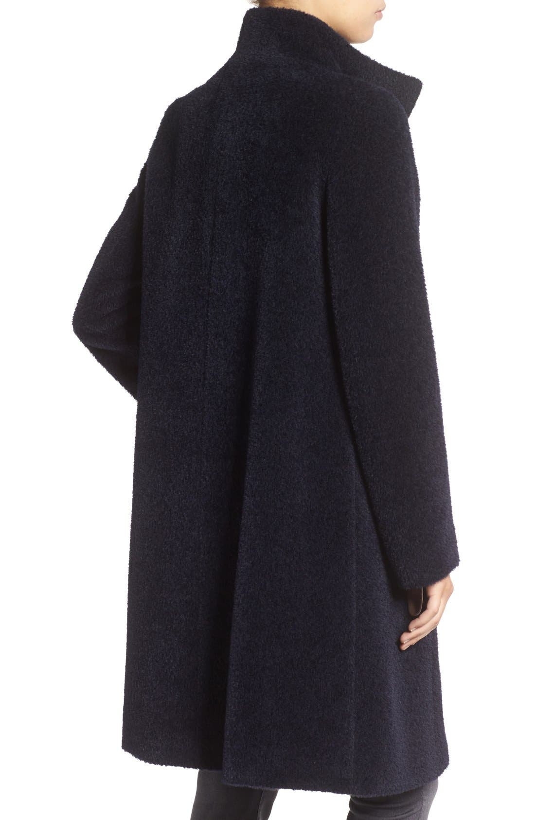 Stand Collar Wool & Alpaca Long A-Line Coat,                             Alternate thumbnail 2, color,                             Navy
