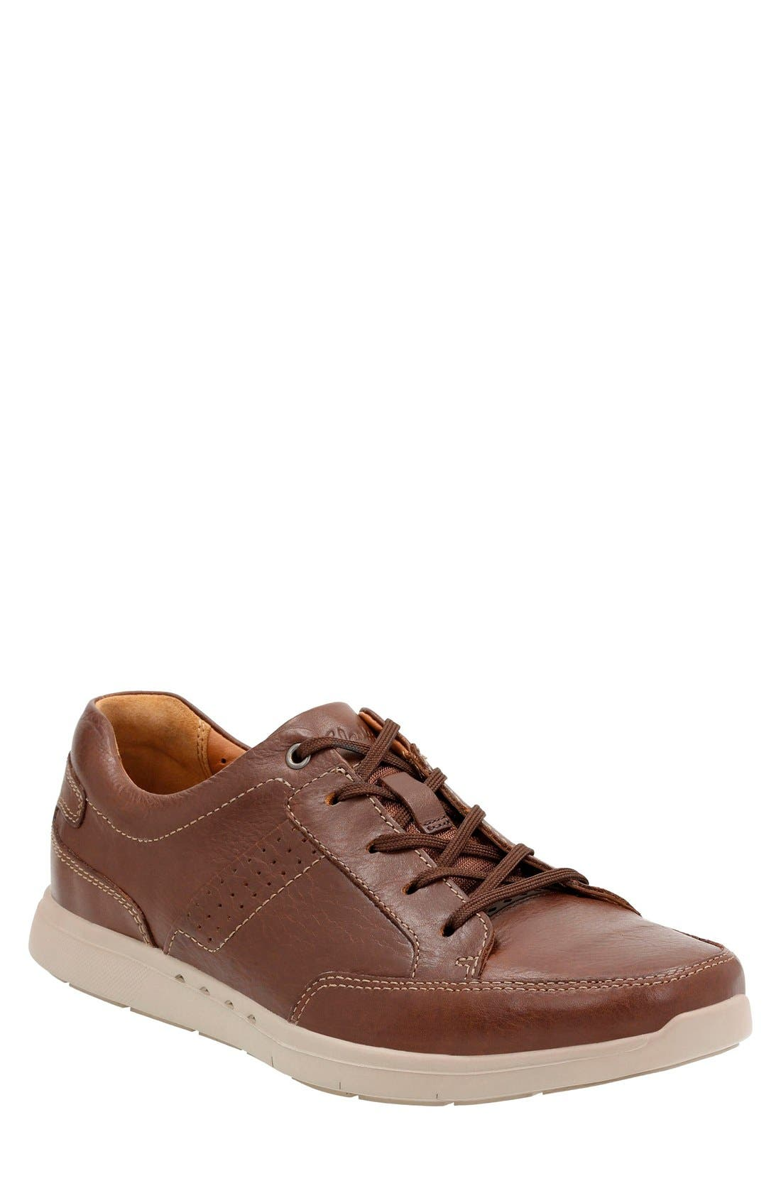 'Unstructured - Lomac' Leather Sneaker,                             Main thumbnail 1, color,                             Tan