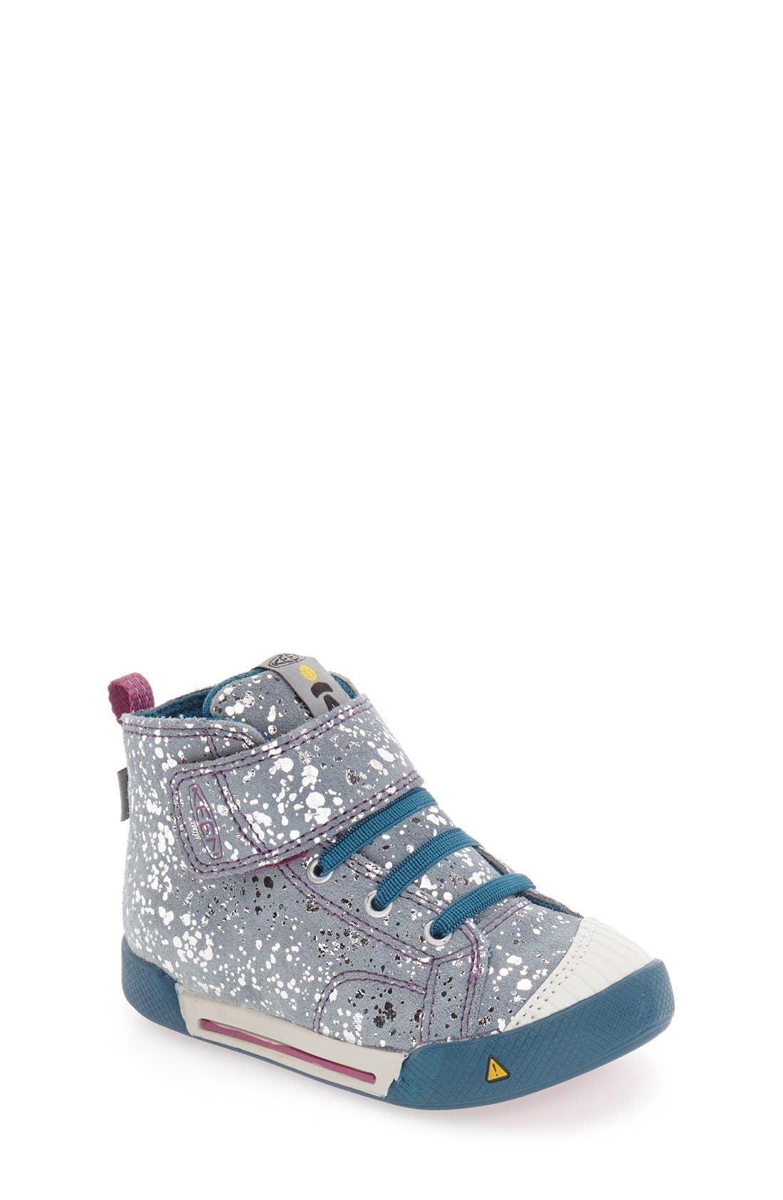 'Encanto Scout' High Top Sneaker,                             Main thumbnail 1, color,                             Silver Splatter/ Purple