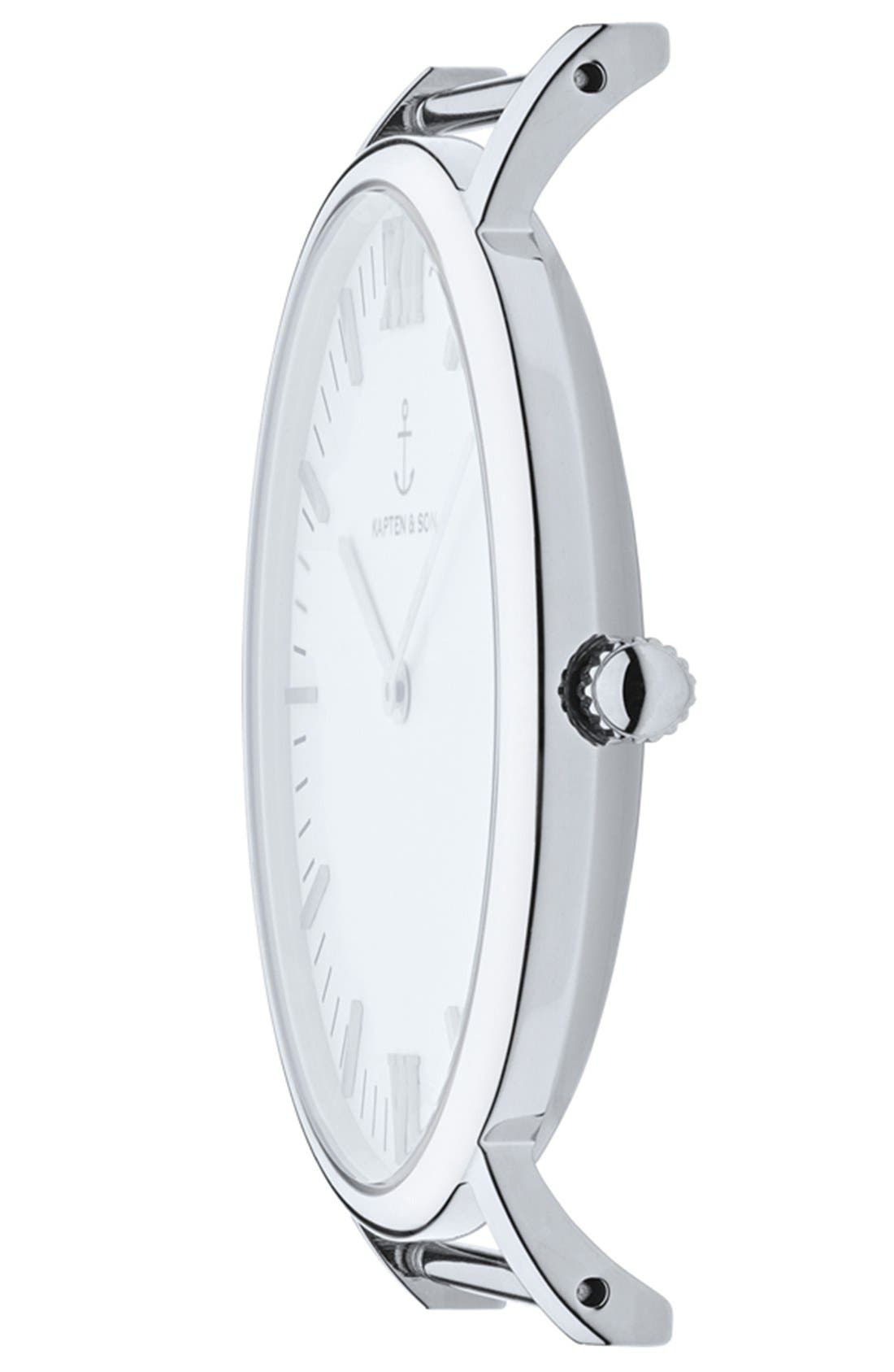 Campus Leather Strap Watch, 40mm,                             Alternate thumbnail 2, color,                             Black/ White/ Silver