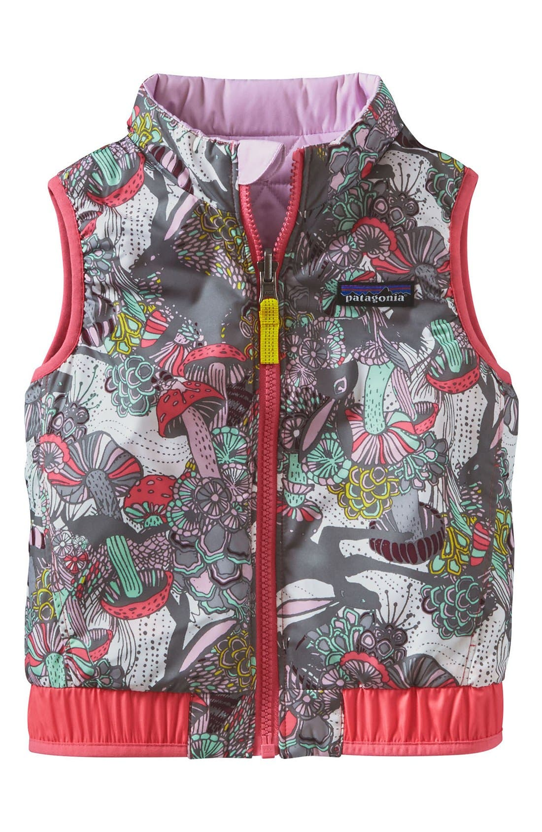 'Puff-Ball' Water Resistant Reversible Vest,                         Main,                         color, Birch White