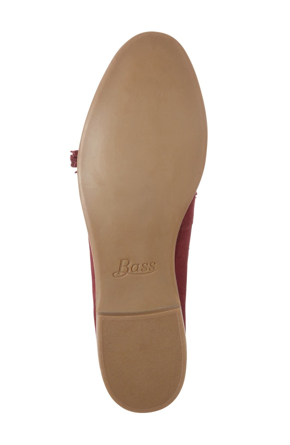 'Estelle' Tassel Loafer,                             Alternate thumbnail 4, color,                             Cherry Red Suede