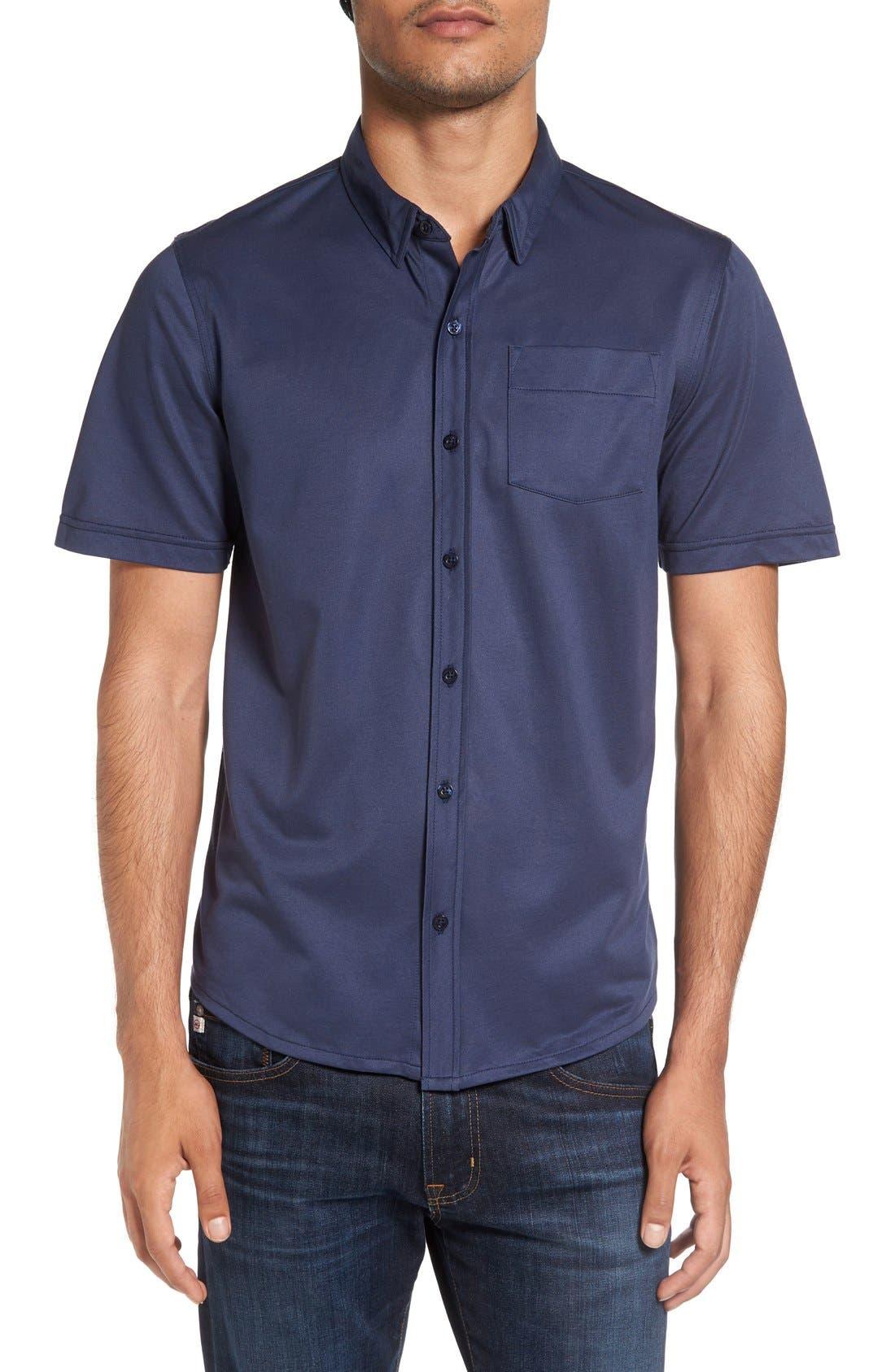 Hines Slim Fit Wrinkle Resistant Sport Shirt,                         Main,                         color, Iris