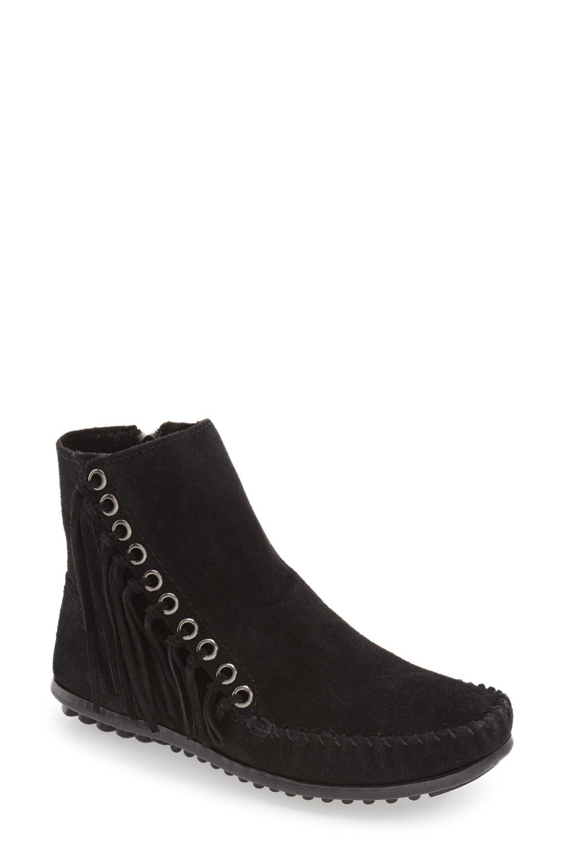Willow Fringe Bootie,                             Main thumbnail 1, color,                             Black Suede