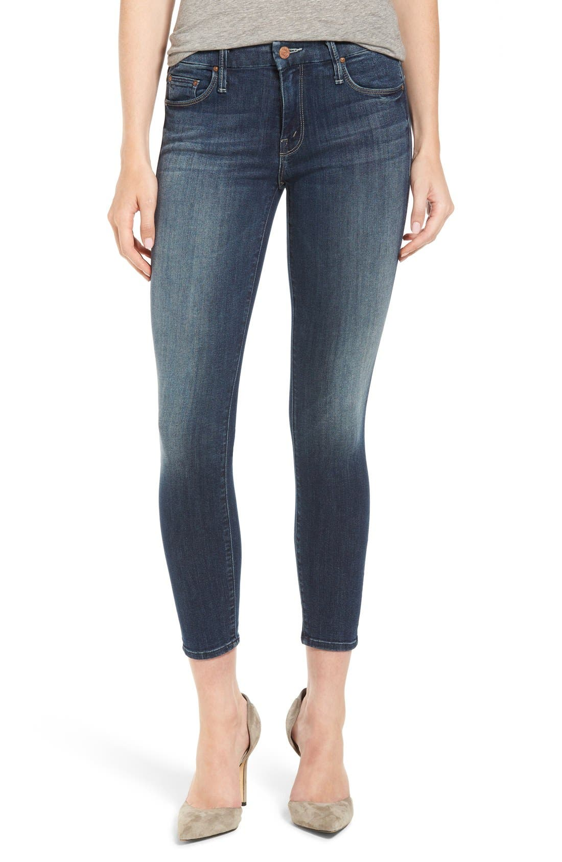 MOTHER 'The Looker' Crop Skinny Jeans (Here Kitty Kitty)