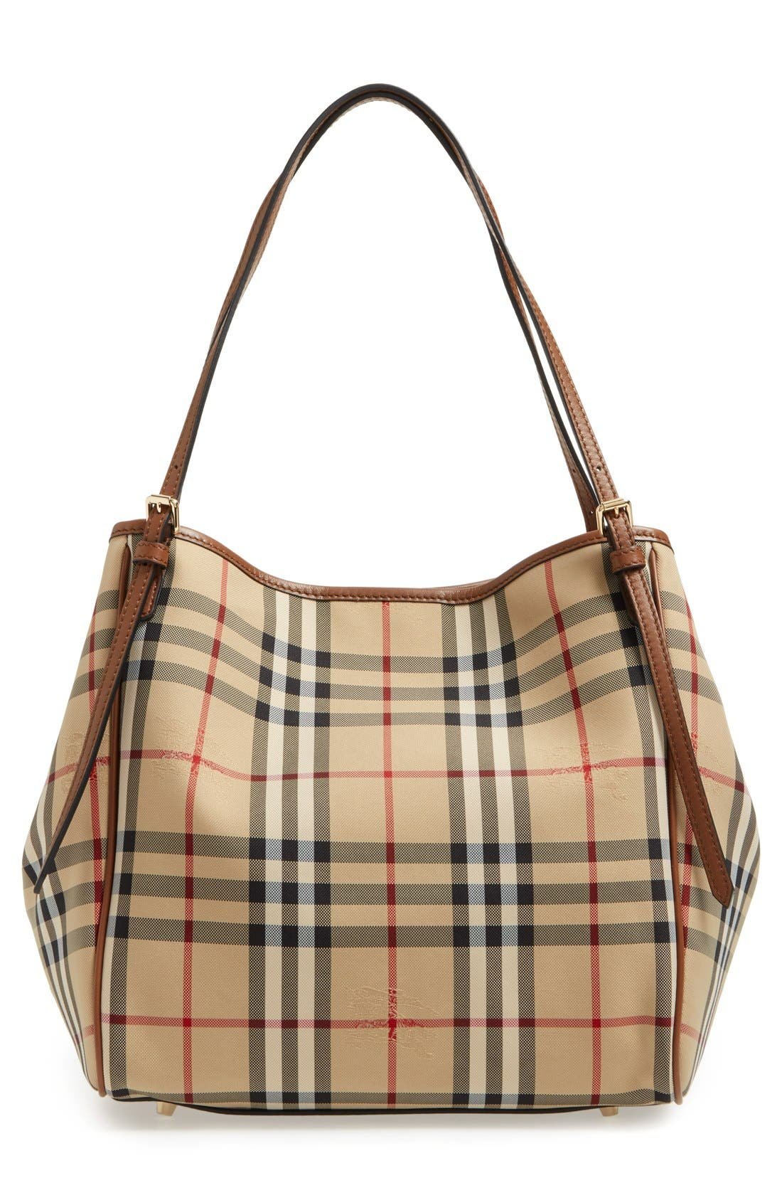 Alternate Image 3  - Burberry Small Canter Check & Leather Tote