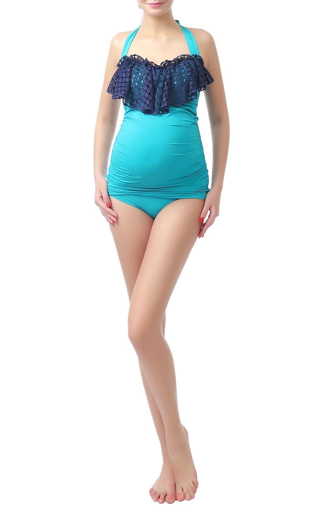 Kimi and Kai 'Ruby Crochet' Maternity Two-Piece Tankini Swimsuit