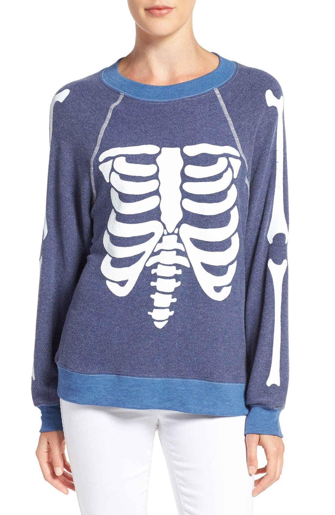 'Inside Out' Skeleton Print Pullover,                         Main,                         color, City Night