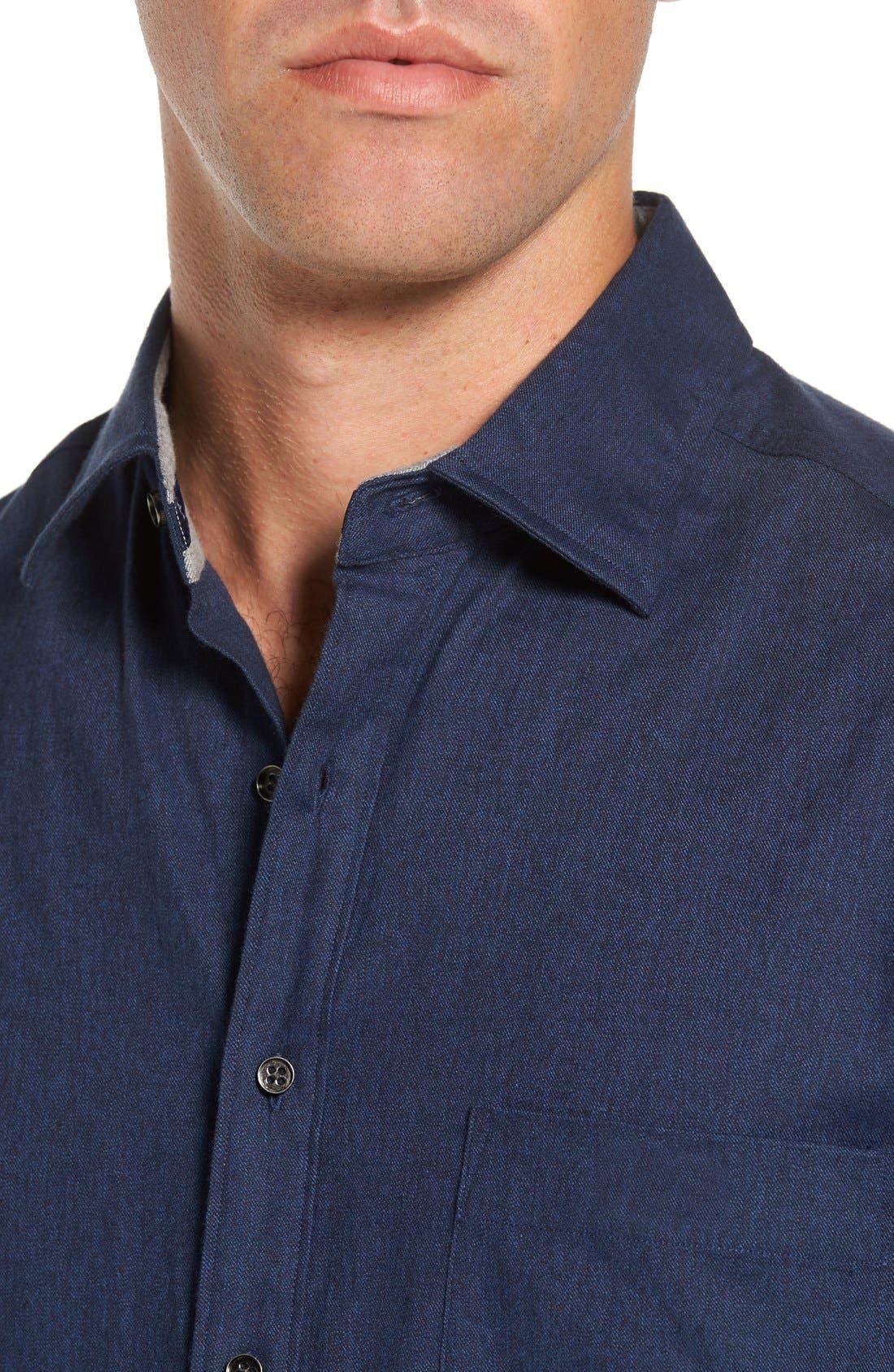 'Sinclair' Trim Fit Brushed Twill Sport Shirt,                             Alternate thumbnail 4, color,                             Indigo